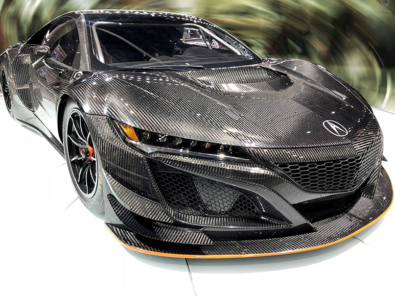 Photo of Acura NSX at Los Angeles Auto Show 2017 for blog article Package Design & Precision; Automotive Graphic Designer Example