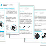 Pixellent Marketing material for Biomechanic Systems Sell Sheets