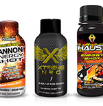 Pixellent Packaging concept design for various energy shots cannon energy shot xtreme energy shot haust energy shot