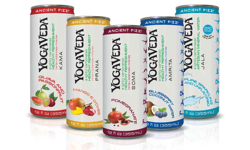 Pixellent Packaging concept design for yoga veda sparkling drinks in aluminum can award winner