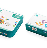 Pixellent package design and layout creation for Armenian educational toy magnetic letters in box two versions letters and nubers