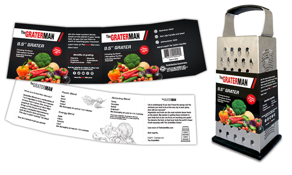 pixellent package design and brand development for GraterMan vegetable grater