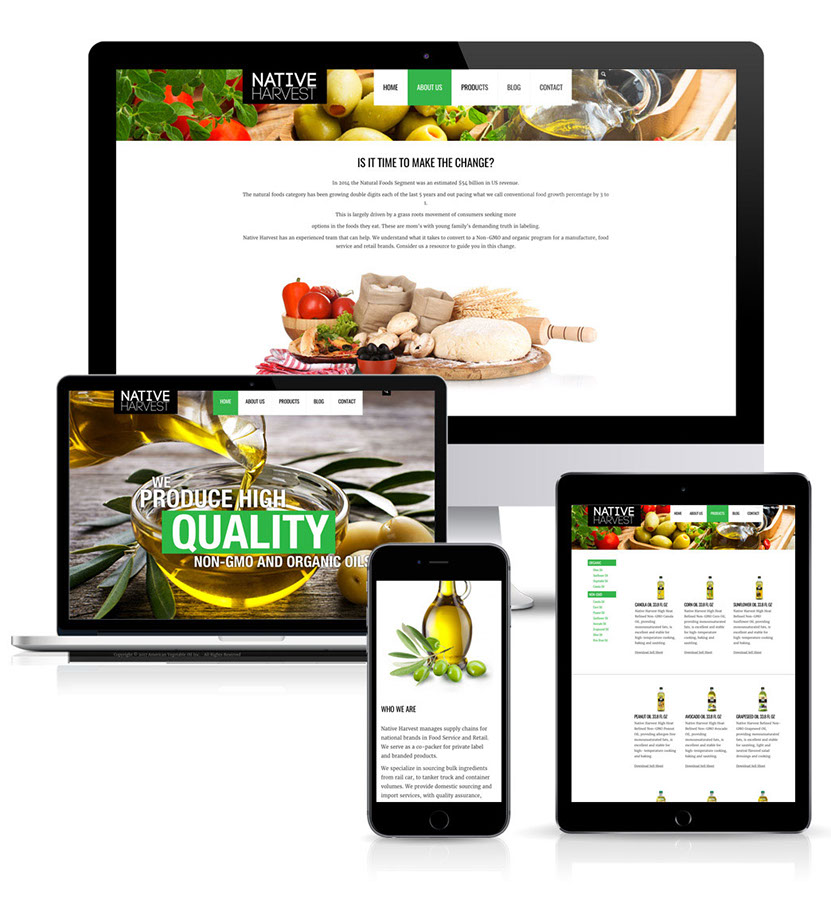 website design and development for Native Harvest Foods